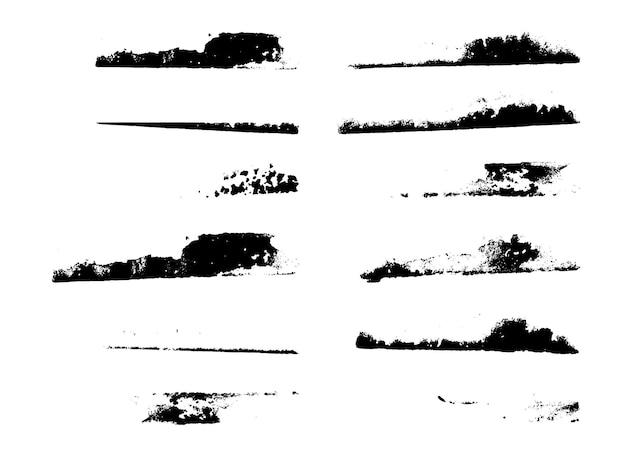 Satz grunge-pinsel striche malen striche mit einem trockenen pinsel. abstrakte tintenflecken