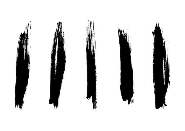Satz grunge-pinsel striche malen striche mit einem trockenen pinsel