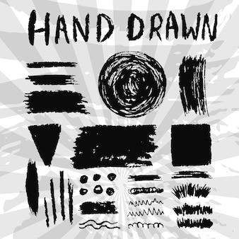 Satz grungy tintenbeschaffenheiten. gezeichnete schablone der vektorbürste und -fahnen hand.