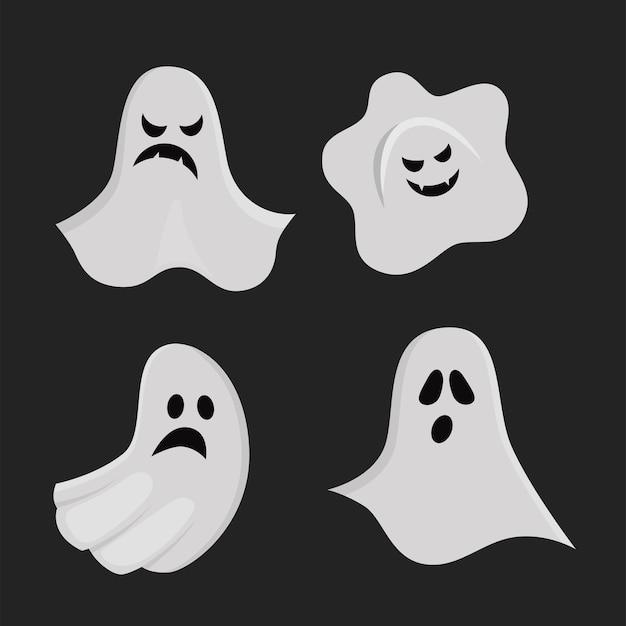 Satz gruselige geister im cartoon-stil. vektorillustration für halloween