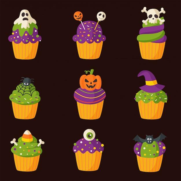 Satz gruselige karikatur halloween cupcakes