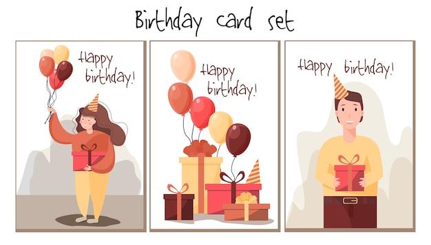 Satz grußkarten mit einem fröhlichen mädchengeschenk und luftballons. der typ gibt ein geschenk. viele kisten mit geschenken und luftballons.
