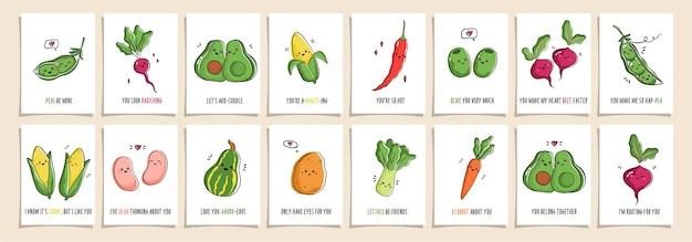 Satz grußkarten punny gemüse mit niedlichen gemüse und lustigen phrasen. sammlung von postkarten mit kawaii gemüse und wortspielen. cartoon-illustration.