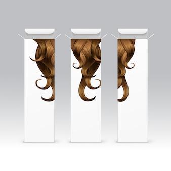 Satz haarfarbe farbstoff shampoo balsam balsam maske verpackung verpackung pack box auf hintergrund
