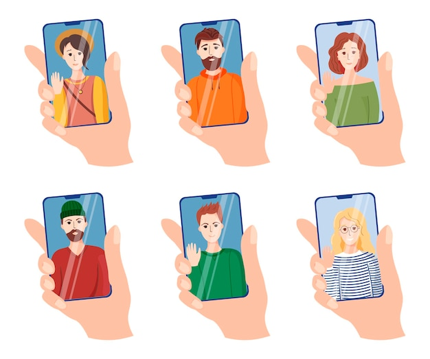 Satz hände berühren smartphone-bildschirm. eine große reihe von illustrationen, symbolen zum thema videoanrufe von freunden. junge mädchen und männer auf smartphone-bildschirmen. trendige vollfarbsymbole im flachen stil. die ha