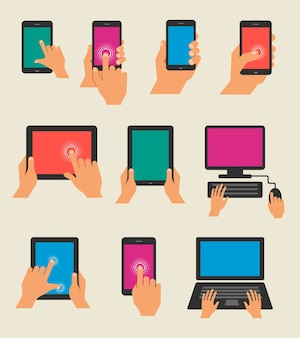 Satz hände halten tablett und smartphones