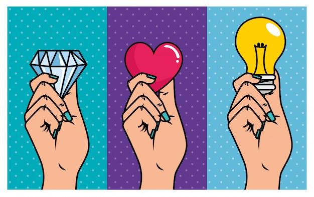 Satz hände mit verschiedenen elementen: diamant, herz und glühlampe, pop-art-stil