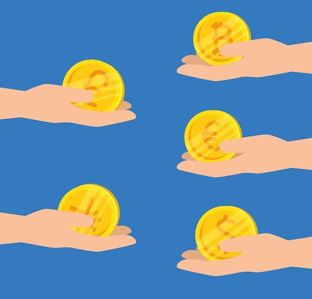 Satz hände mit virtuellen bitcoins