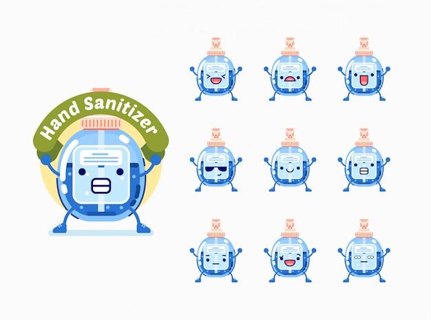 Satz händedesinfektionsmittelcharakter mit unterschiedlichem gesichtsausdruck für emoticon