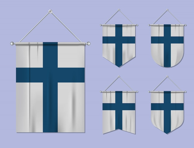 Satz hängende flaggen finnland mit textilbeschaffenheit. diversitätsformen des nationalflaggenlandes. vertikaler schablonenwimpel