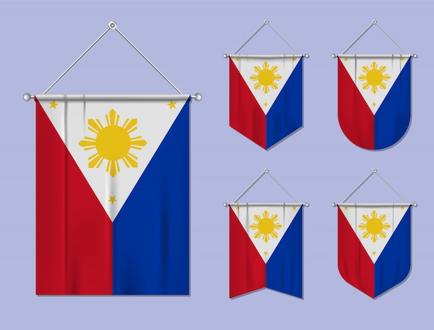 Satz hängende flaggen philippinen mit textilbeschaffenheit. diversitätsformen des nationalflaggenlandes. vertikaler schablonenwimpel.