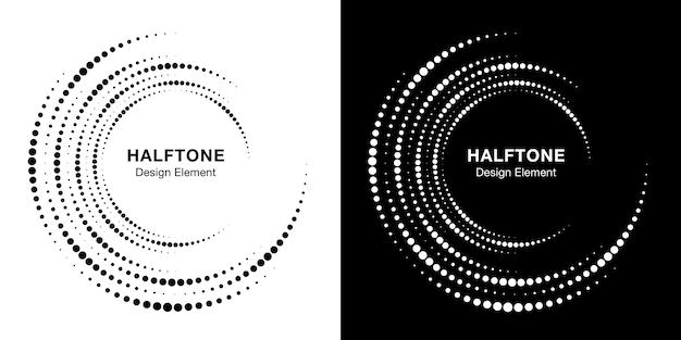 Satz halbtonwirbelkreisrahmen-punktelogo. kreisförmiges wirbelgestaltungselement. unvollständiges rundes rahmensymbol mit halbtonkreispunkt-textur.