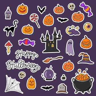 Satz halloween-aufkleber