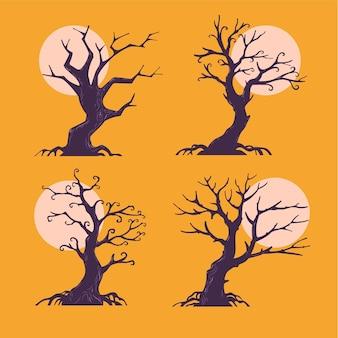 Satz halloween-bäume mit mondhintergrund