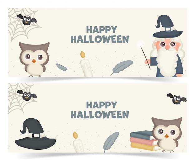 Satz halloween-banner mit magischen elementen