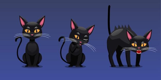 Satz halloween-charakter-illustration, schwarze katzen-sitz-pose und wütende pose, lokalisiert auf gradienten-hintergrund