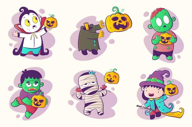 Satz halloween-charakter