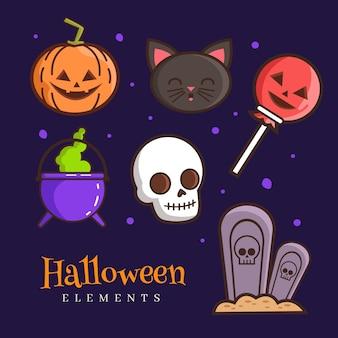 Satz halloween-elemente