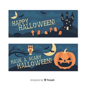 Satz halloween-fahnen im flachen design