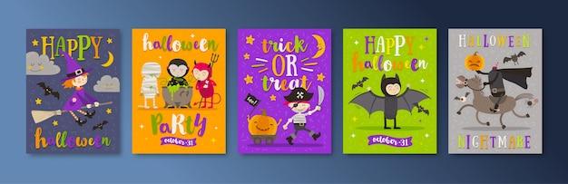 Satz halloween-feiertagsplakate oder grußkarte mit zeichentrickfiguren und typentwurf. illustration.