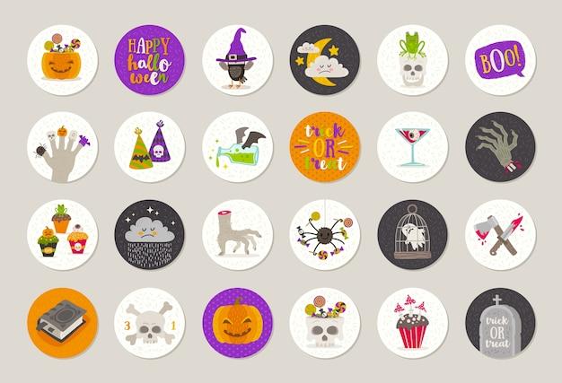 Satz halloween-geschenkanhänger und -etiketten mit feiertagsgrüßen, objekten, zeichen und symbol. illustration.
