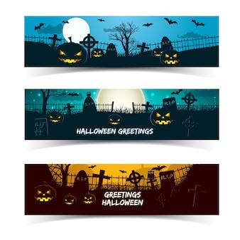Satz halloween-grußfahnen mit laternen von kürbistierfriedhofbäumen und mond lokalisiert