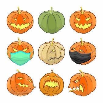 Satz halloween-ikone. kürbis mit gesichtsmaske
