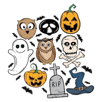 Satz halloween-ikonen mit hexenhut, eule, kürbis, schläger und finanzanzeige