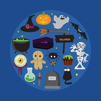 Satz halloween-illustrationen