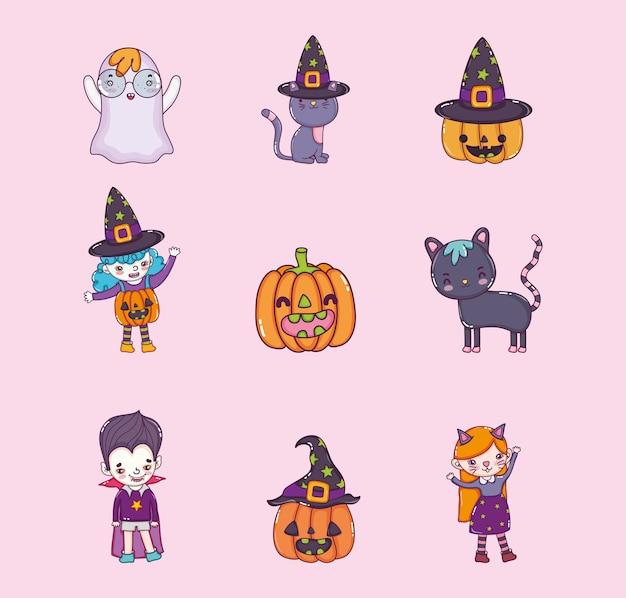 Satz halloween-karikaturen