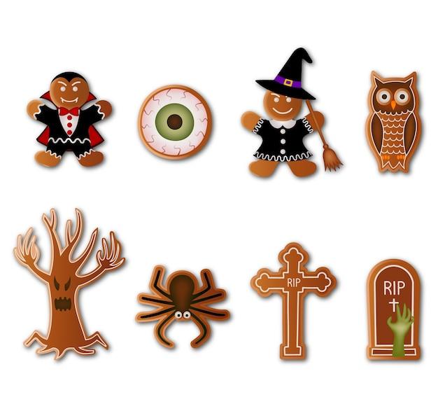 Satz halloween-kekse