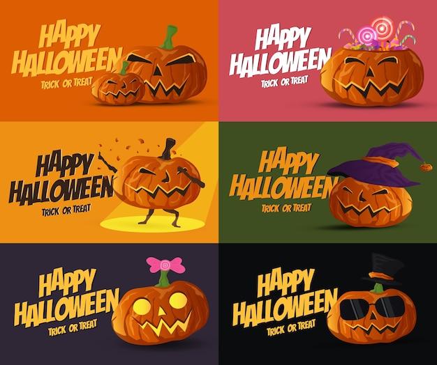 Satz halloween-kürbisfahnen- und -kartensammlungsdesign vektor