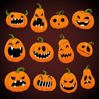 Satz halloween-kürbisse mit verschiedenen gesichtern. Premium Vektoren