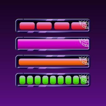 Satz halloween-ladeleiste in verschiedenen farben für gui-asset-elemente