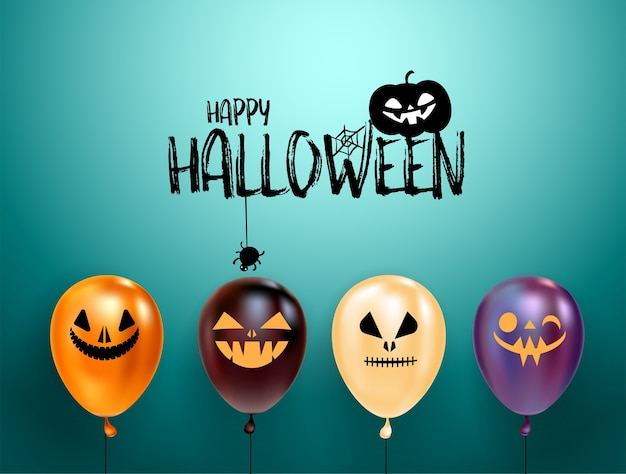 Satz halloween-luftballons mit gruseligen gesichtern und halloween-logo mit katze im hut.