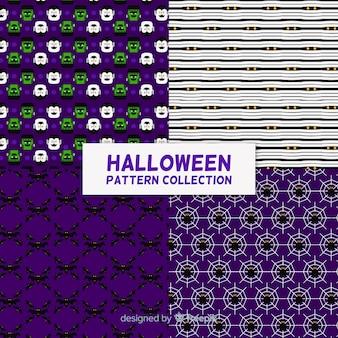 Satz halloween-muster im flachen design