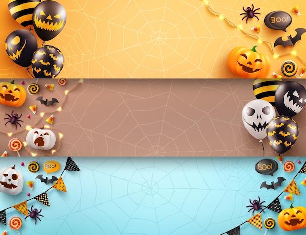Satz halloween-plakat und fahnenschablone mit unheimlichen luftballons und halloween-element
