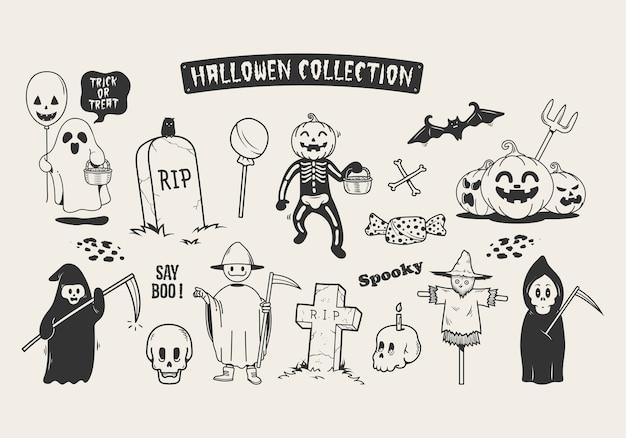 Satz halloween-skizzengekritzelzeichentrickfilm-figur.