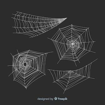 Satz halloween-spinnennetze