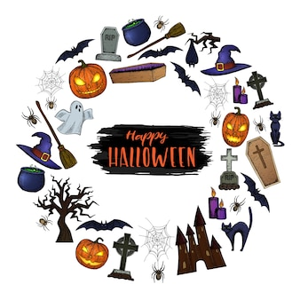 Satz halloween-symbole für dekoration. bunte beängstigende halloween-skizzenillustration.