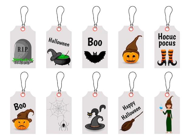 Satz halloween-tags für urlaubswaren