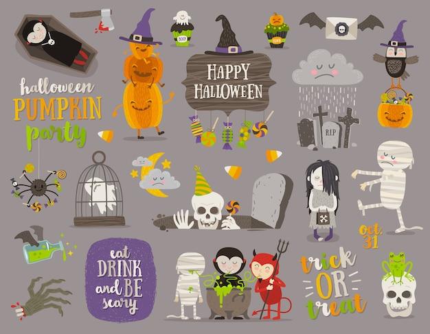 Satz halloween-zeichen, symbol, objekte, gegenstände und zeichentrickfiguren. illustration.