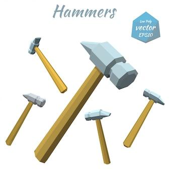 Satz hammer lokalisiert auf weiß