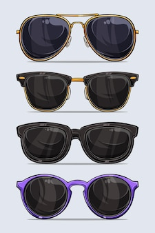 Satz hand gezeichnete moderne und schöne sonnenbrille mit schatten und lichtern lokalisiert auf weißem hintergrund
