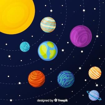 Satz hand gezeichnete planetenaufkleber