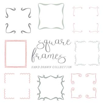 Satz hand gezeichnete quadratische rahmen