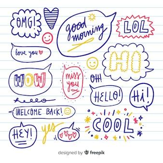 Satz hand gezeichnete spracheblasen