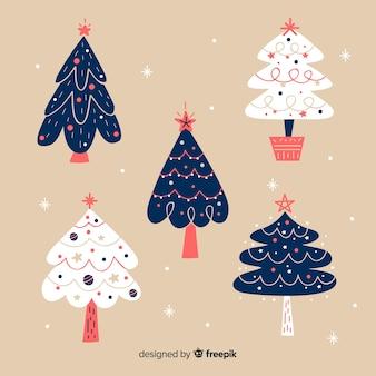 Satz hand gezeichnete weihnachtsbäume