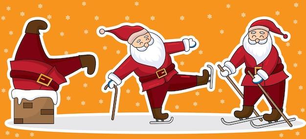 Satz hand gezeichneter weihnachtsmanncharakter, karikaturentwurf des flachen stils.