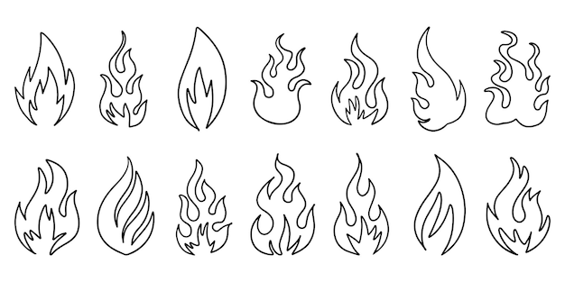 Satz hand gezeichnetes feuer und feuerball lokalisiert auf weißem hintergrund. doodle-vektor-illustration.
